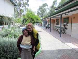 Wendy with precious Diosalinda at senior care home in Chordeleg, Ecuador