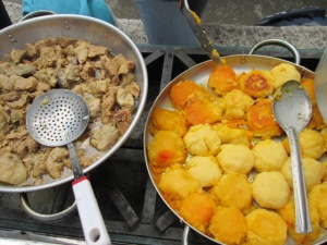 pork and potato/corn patties prepared by Plentitud Assisted Living