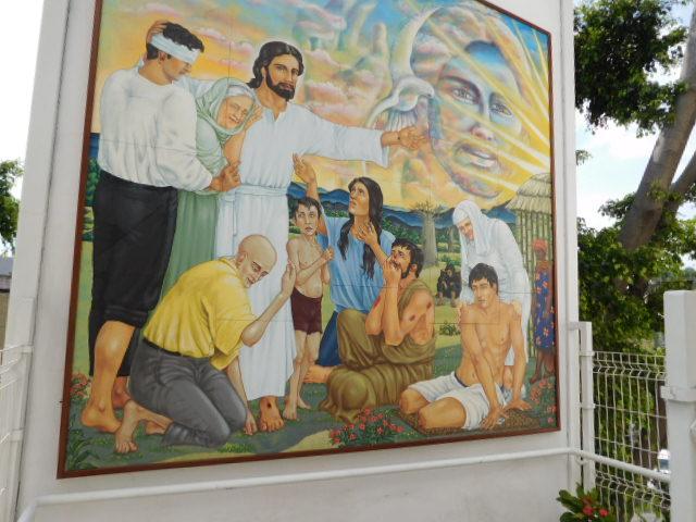 mural at entrance to Juntos Contra el Dolor